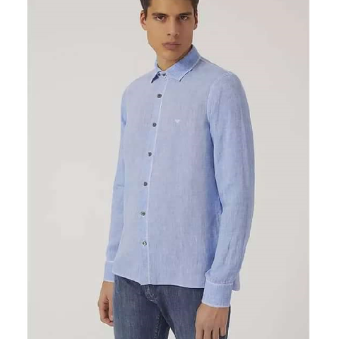 Рубашка голубая лен  р.3XL