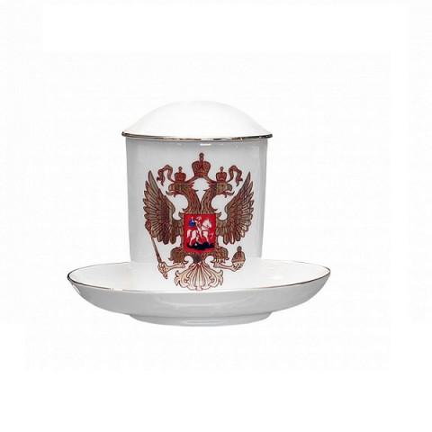 Набор Бокал с крышкой и блюдце Снежное утро Двуглавый орёл