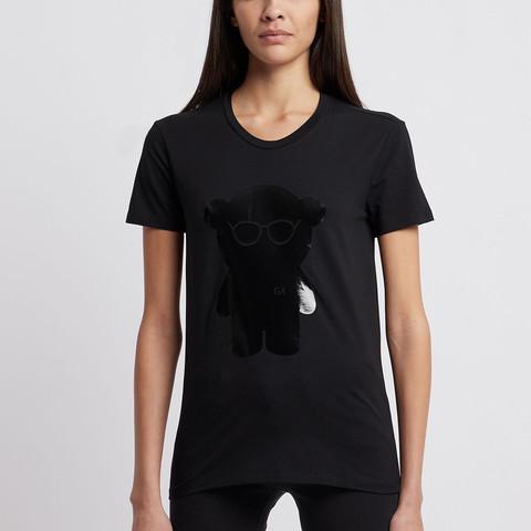 Футболка жен черная медведь лак р.42