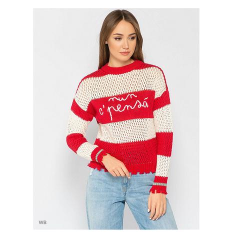 Пуловер красн/бел р S