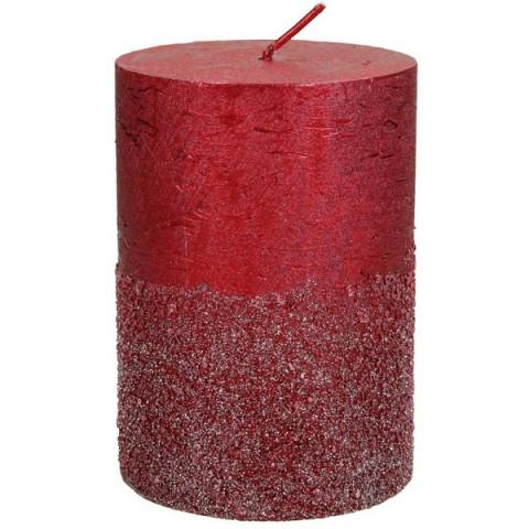 Свеча красная с блёстками S