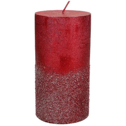 Свеча красная с блёстками М