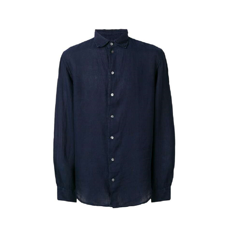 Рубашка синяя лен  р.XL