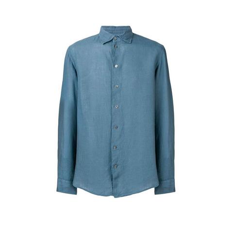 Рубашка бирюзовая лен  р.L