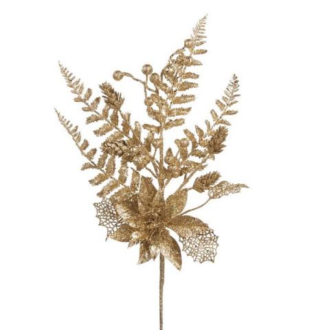 Ветвь золотая с пуансеттией